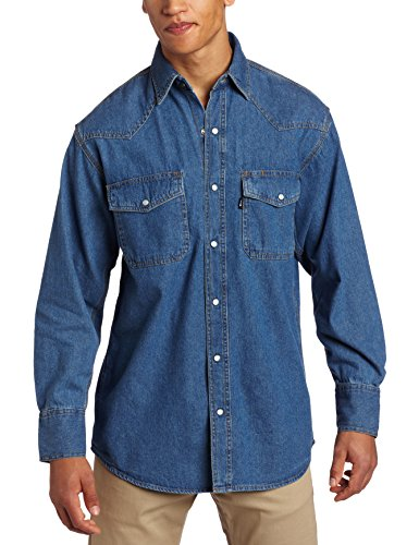 Key Apparel Men's Big-Tall Long Sleeve Western Snap Denim Shirt, Denim, Large-Tall