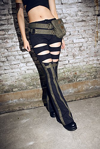 Womens Top Gun Outfit (Steampunk Victorian Costume Vintage Punk Motorcycle Trousers Pants (L))