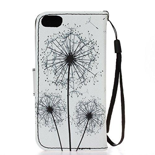 Ikasus Funda con solapa para Apple iPhone SE 2016, 5S y 5, con dibujo pintado, piel sintética de poliuretano, de alta calidad, con función atril y tarjetero Dandelion