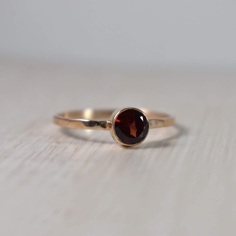 January Birthstone Ring Gemstone Ring Sterling Silver Natural Garnet Silver Ring Handmade Gift Ring Garnet Ring Garnet Jewelry