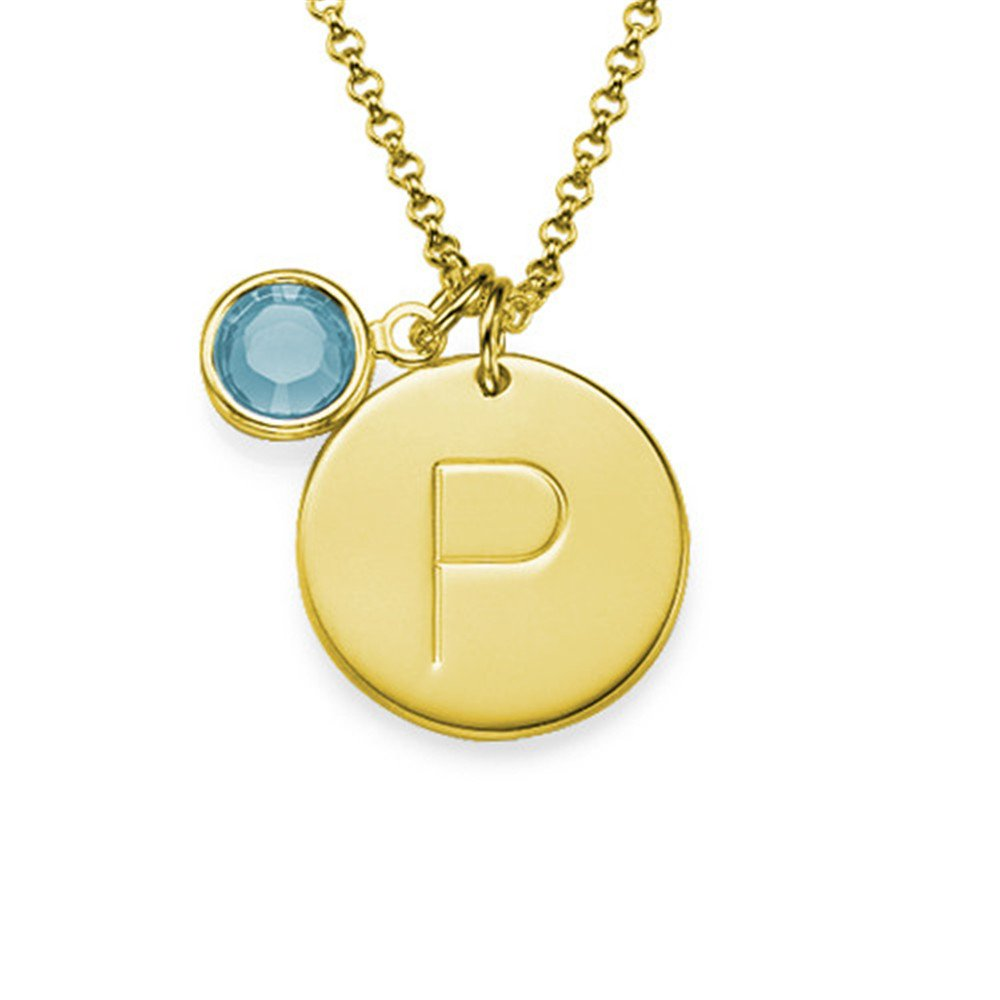 Disc Pendant Custom Letters and Birthstone Necklace Custom Necklace Gift