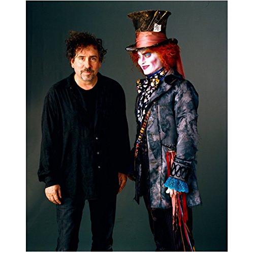 Alice in Wonderland Johnny Depp as Mad Hatter looking at Tim Burton 8 x 10 Inch Photo ()