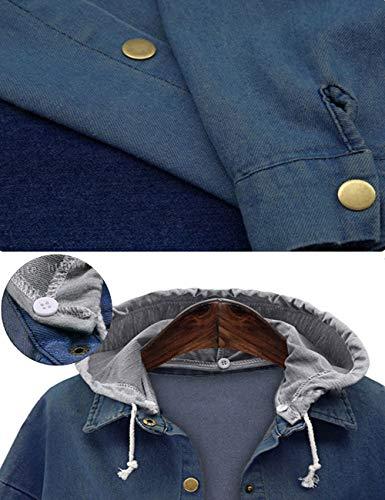 Innifer Women's Casual Long Denim Coat with Hood Long Sleeve Windbreaker Plus Size Jean Jacket Outwear by Innifer (Image #5)