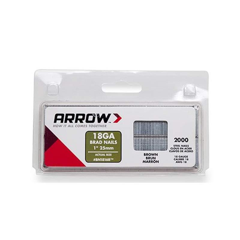 Arrow Fastener BN1816BCS 1-Inch Brown Brad Nails, 18-Gauge