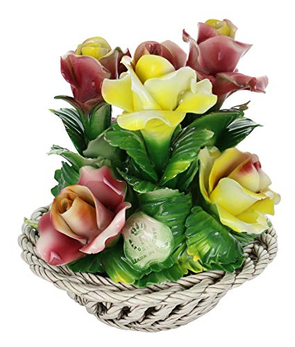 Capodimonte Authentic Italian Yellow & Pink Flowers in Round Woven Basket Centerpiece Made in Italy 9
