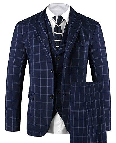 Hanayome Men's 3 PC Casual Stylish Suit Blazer Jacket Tux Vest & Trousers SI2£¨Blue,38R£
