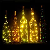 Set of 6 Wine Bottle Lights Battery Powered, LED Cork Shaped Starry String Lights - 15LED 30inch Copper Wire Fairy Lights for Bottle DIY, Party, Decor, Christmas, Wedding, Dancing, Warm White EIISON