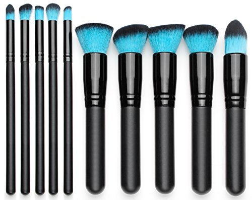 Qivange Makeup Brushes, Premium Synthetic Foundation Powder Eyeshadow Blush Concealer Kabuki Brush Set ( 10pcs, Black with Blue)