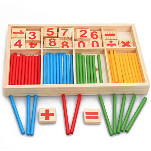 (JohnCalbe Montessori Education Mathematics Math Toys Arithmetic Counting Preschool Spindles Wooden Educational Toys for Kids Children Gift)