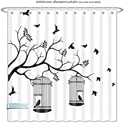 "Minicoso Shower Curtains Apartment Decor Modern Romantic Themed Decor Birds Cages Branches Leaves Art Print Black And White Polyester Fabric For Bathroom Size-48""W x 72""H"