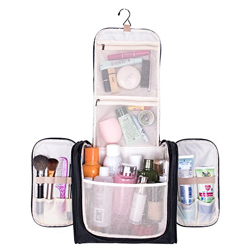 Large Hanging Travel Toiletry Bag - MelodySusie Heavy Duty Waterproof Makeup Organizer Bag Shaving Kit Toiletry Bag for Travel Accessories, Shampoo, Cosmetic, Personal Items (Weekend Bag Recycled)