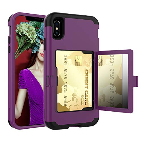 iPhone Xs Max Case, Solomo Wallet Case Design with Hidden Back Mirror and Card Holder Heavy Duty Protection Shockproof Armor Protective Case for iPhone Xs Max 6.5'' (Purple)
