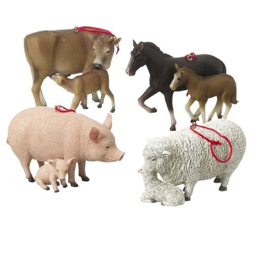 Set of 4 Farm Animals with Babies Cow, Horse, Sheep, Pig Resin Stone Christmas Tree Ornaments