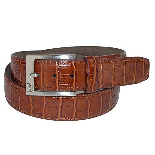 PGA TOUR Men's Gator Print Leather Belt with Hidden Stretch, 44, Tan