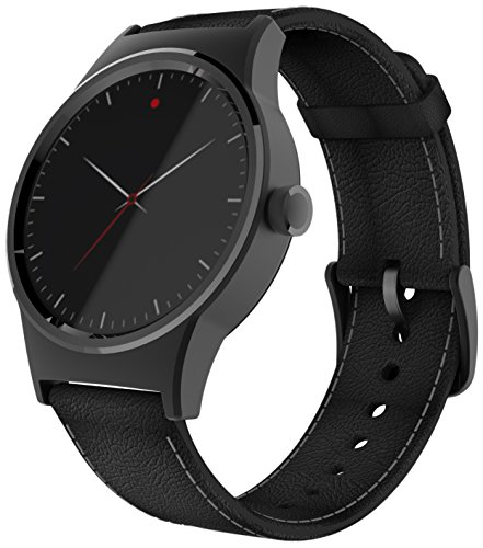TCL MOVETIME Smartwatch schwarz mit Lederarmband schwarz