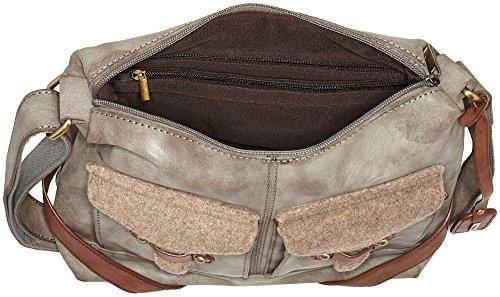 Rieker Damen H1440 Schultertasche, 32x26x10 cm Braun (Cigar/Wood)