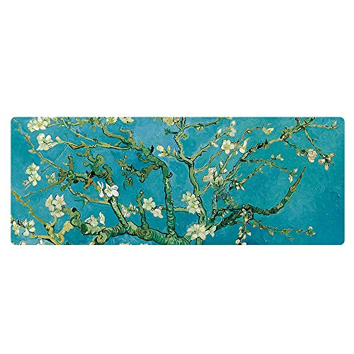 (Memoclick Extra Large Extended Gaming Desk Mat 35.43 x 15.75 inch Mouse Pad - Vincent Van Gogh Almond Blossom,Perfect Christmas Gift)