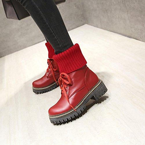 YE Damen Chunky Heels Ankle Boots High Heels Stiefeletten Plateau mit Schnürung und 5cm Absatz Modern Bequem Schuhe Rot