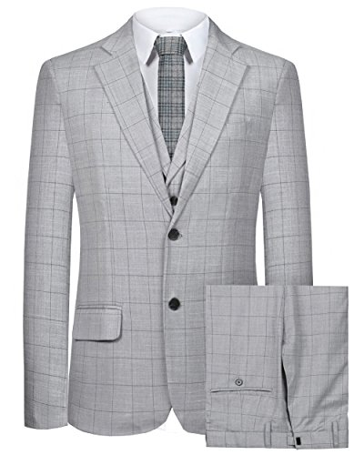 Hanayome Men's Suit 2 Buttons 3 PC Casual Grid Sport Blazer Flat Front Pants (42r Suit)