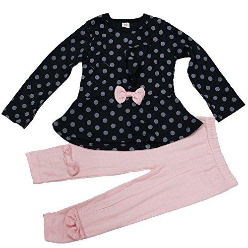 ASHERANGEL Baby Girl Cute 2pcs Set Children Clothes Suit Top and Pants (Age(3T), Navy Dot)