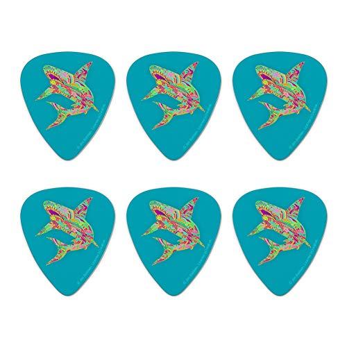 Mosaic Lily Shark Tropical Island Surf Novelty Guitar Picks Medium Gauge - Set of 6