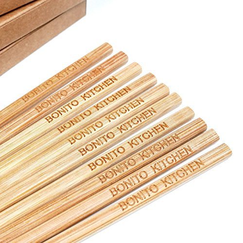 100 Pairs 10 Inch Natural Bamboo Chinese Chopsticks Engraved with Custom Logo - Choice of Corporation Buyers - Wholesale Washable High Quality Bamboo Chopsticks in Bulk for Wedding or Business ()
