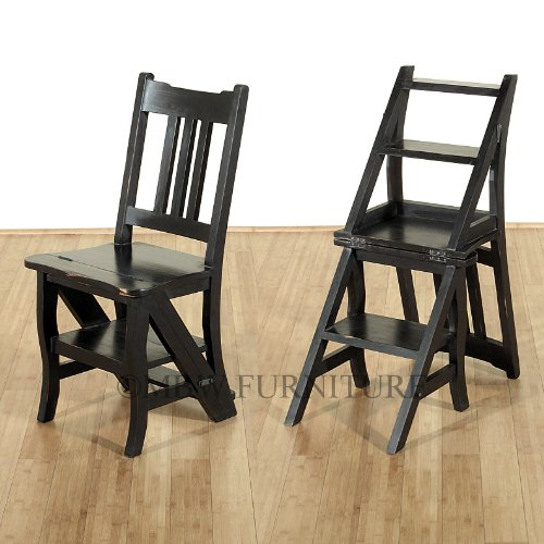 Convertible Step Stool - Distressed Black Convertible Ladder Chair Library Step Stool