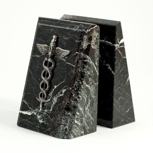 Bey-Berk R19M Beveled Black Zebra Marble Bookends with Antique Silver Plated Medical Emblem, ()