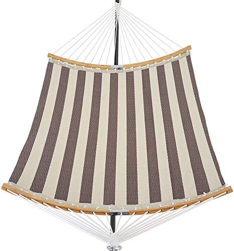 Patio Guarder 14 FT Portable Hammock with Double Size, Quick Dry Hammock with Solid Folding Curved Bamboo Spreader Bar, Outdoor Patio Yard Beach Hammock, UV Resistance, 450 Lb Capacity,Brown