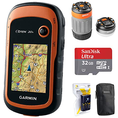 Garmin eTrex 20x Handheld GPS (010-01508-00) with 32GB Accessory Bundle Includes, 32GB Memory Card, LED Brite-Nite Dome Lantern Flashlight, Carrying Case & 4X Rechargeable AA Batteries w/Charger (Mens Trek Air)