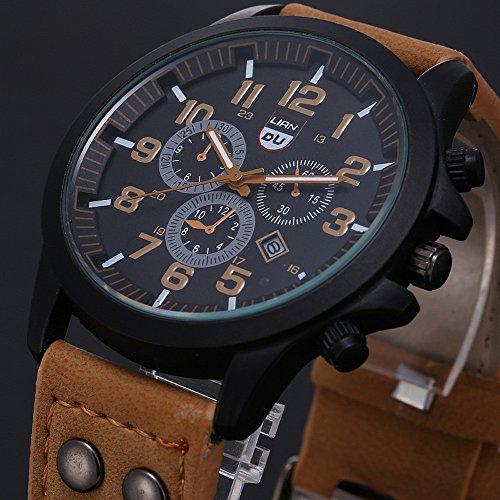Teresamoon watch , Mens Date PU Leather Strap Sport Quartz