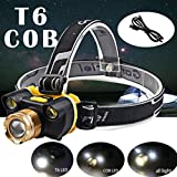 PENATE 4 Modes Waterproof Hard Light Headlamp 15000LM 1xT6 XM-L 2x COB LED Rechargeable Light Comfortable Zoomable Headlamp Head Light Torch Flashlight