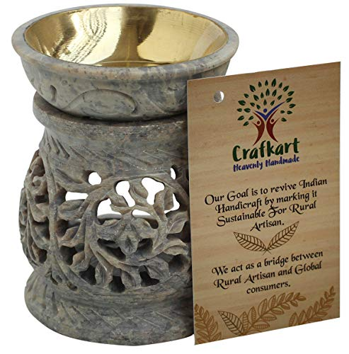 Crafkart 4 Inches Natural Stone Tea Light Holder, Aromatherapy Essential Oil Warmer Burner Candle Holder Furnace Diffuser Home Decorative Spa Yoga Meditation