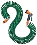 Coil Hose with Spray Nozzle - Light Weight & Flexible Recoil & Expandable