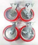 8'' X 2'' Polyurethane on Aluminum Caster - Swivel (2ea) & Swivel with Brake (2ea)