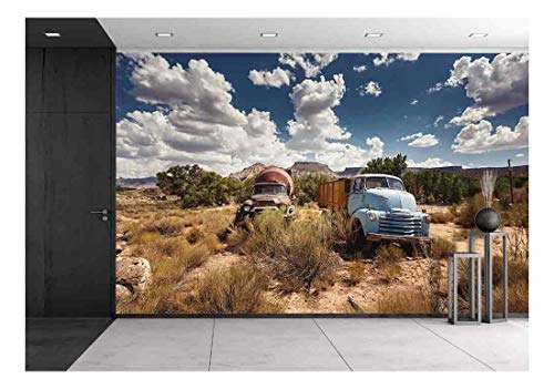 wall26 - Old Rusty Cars in Abandoned Town Along Historic Us Route 66, Arizona - Removable Wall Mural   Self-Adhesive Large Wallpaper - 100x144 inches