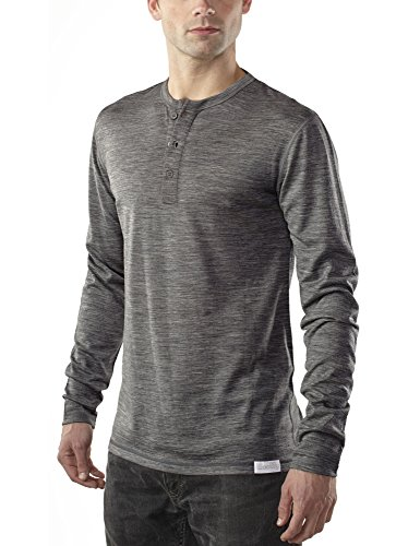 Woolly Clothing Men's Merino Wool Long Sleeve Henley - Everyday Weight - Wicking Breathable Anti-Odor M CHR Charcoal