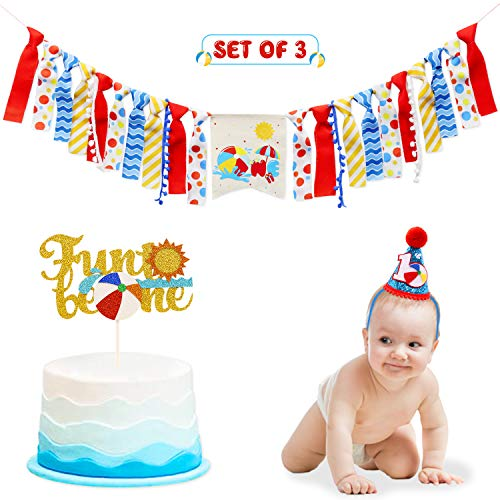Beach Ball High Chair Banner for 1st Birthday Cake Smash Party Decorations - Pool Party Supplies - Photo Booth Props and Souvenir for Toddler First Baby