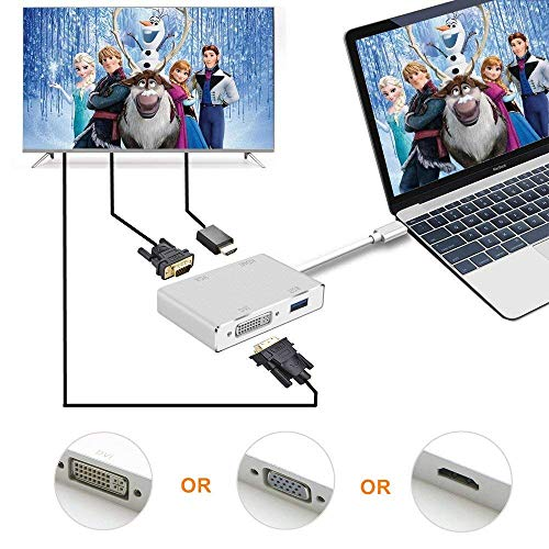 547a74d1b8230 ARKTEK USB-C to HDMI VGA DVI Adapter with USB 3.0 Port - USB Type  C(Thunderbolt 3 Compatible) 4-in-1 Cable Adapter for Surface Book 2, Galaxy  S9 and ...