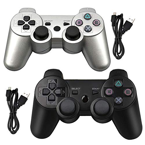 Tidoom PS3 Controller 2 Pack Wireless Bluetooth 6-Axis Gamepad Controllers Compatible for Playstation 3 Dualshock 3 Silver + Black (Six Button Ps3 Controller)