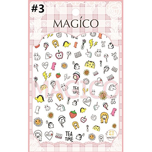 NICOLE DIARY 1 Sheet Ultrathin Adhesive 3D Nail Sticker Cartoon Kids Waterproof Decal Nail Art Manicure Decoration(03) (Korean Tattoo Sticker)