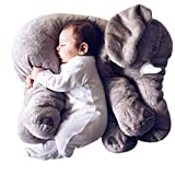 Missley Big Elephant Cushion Cute elephant pillow 100% cotton Novelty plush soft toy for decoration gifts for kids Size L (Grey)