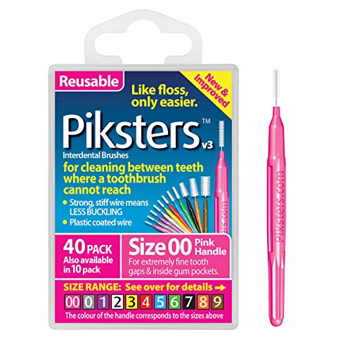 Piksters Interdental Brushes (40 Pack, Size 00 (Pink))
