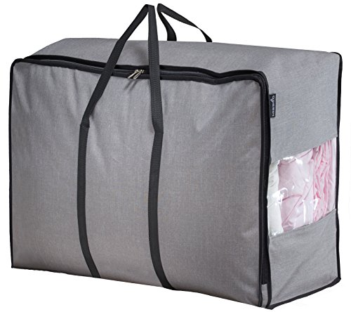 MISSLO Water Resistant Thick Over Size Storage Bag, Folding Organizer Bag, Under Bed Storage, College Carrying Bag for Bedding Comforters, Blanket, Clothes (Grey) (Plastic Bedding Storage Bags)