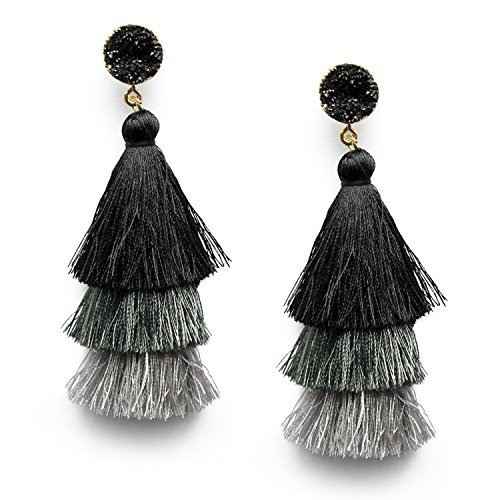 Womens Big Silk Fashion (Me&Hz Black Grey Tiered Statement Tassel Druzy Studs Earrings Layered Elegant Earrings Jewelry for Women)