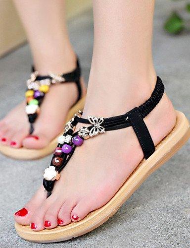 ShangYi Sandaletten für Damen Damenschuhe-Sandalen-Lässig-Kunstleder-Flacher Absatz-Komfort-Schwarz / Weiß White