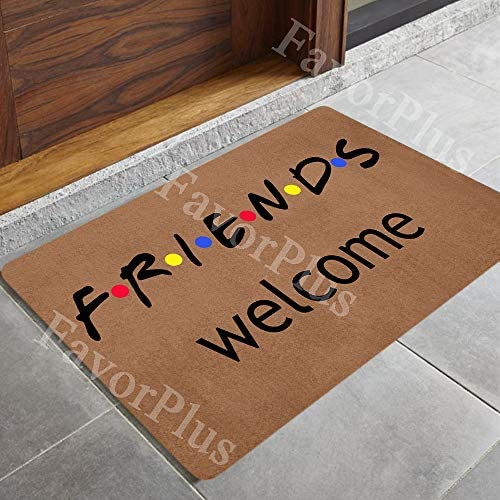 FavorPlus Friends Welcome Funny Entrance Custom Doormat Door Mat Machine Washable Rug Non Slip Mats Bathroom Kitchen Decor Area Rug 18X30 Inch