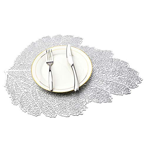 MLADEN Hollowed-Out Leaf Placemats,Heat Insulation Pad Washable PVC Table Mats,Non-Slip Place mats Table Decoration Set of 4 (Silver)