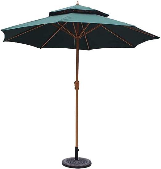 ZHAS Parasoles de jardín Sombrillas de jardín Parasol & Oslash; Sombrilla de Patio de jardín de Doble Tapa de 270 cm (9 pies) con manivela, protección Impermeable de protección Solar (Color: Verd: