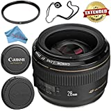 Canon EF 28mm f/1.8 USM Lens 2510A003 + 58mm UV Filter + Fibercloth + Lens Capkeeper Bundle